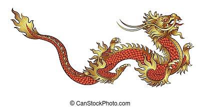 stram, kinesisk drage, gylden, hånd