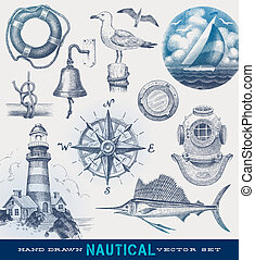 stram, nautiske, vektor, sæt, hånd