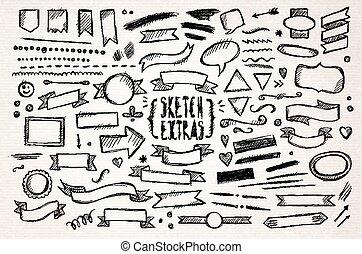 stram, skitse, elementer, hånd