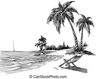 strand, blyant, sommer, affattelseen