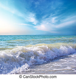 strand, day., kyst, composition., natur, smukke