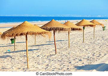 strand, paraplyer