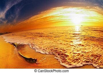 strand, solnedgang, thailand, tropisk