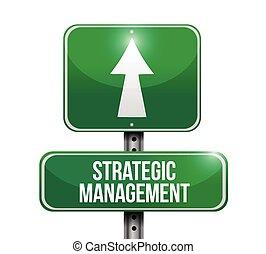strategiske, ledelse, vej, illustration, tegn