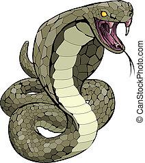 strejke, brilleslange, slange, omkring, illustration