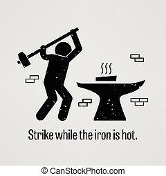 strejke, hede, mens, jern