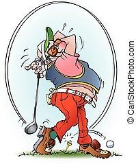 strejke, spiller, golf