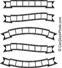 strimler, banner, bånd, film