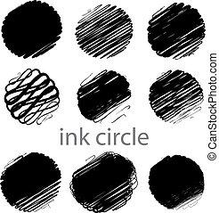 strokes, grunge, (individual, børste, sæt, vektor, cirkel, objects).