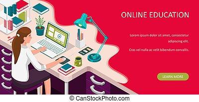 student, skrivebord, kurser, concept., online, afstand, lejlighed, lærdom, home., tutorials, vektor, siddende, kigge, undervisning, banner., laptop., isometric, illustration., e-learning, væv, eller