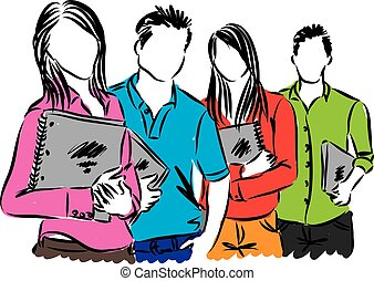 studerende, gruppe, illustration