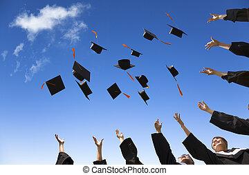 studerende, hatte, examen, luft, fejr, kaste