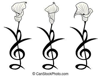 stylized, blomster, sæt