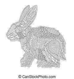 stylized, coloring, bog kunst, kanin