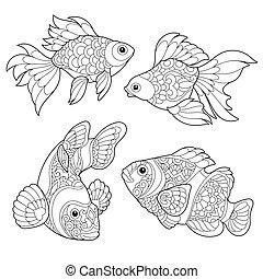 stylized, fish, arter, zentangle