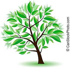 stylized, grønnes træ, leaves.