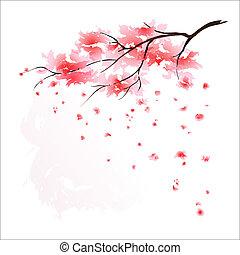 stylized, kirsebær træ, japansk
