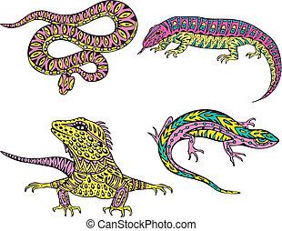 stylized, motley, slange, lizards