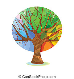 stylized, træ, -, fire sæsoner