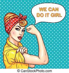 styrke, hende, husmor, kvinde, holdning, demonstrer, affyre, tillidsfuld, kunst