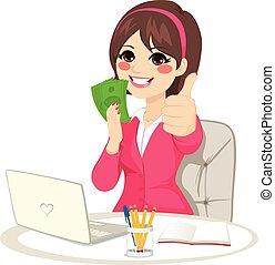 succesrige, businesswoman, penge, buff, banknote
