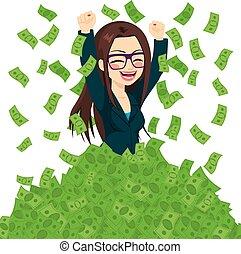 succesrige, businesswoman, super, rige