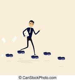 success., firma, gå, forretningsmand, vej, gade, vej, business., dollar, blå, illustration, vektor, tegn., held, begreb