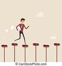 success., firma, gå, forretningsmand, vej, gade, vej, business., dollar, illustration, vektor, tegn., rød, held, begreb