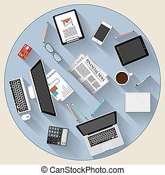 summemøde, teamwork, konstruktion, moderne, begreb, lejlighed