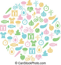 sunde, cirkel, lifestyle, ikon