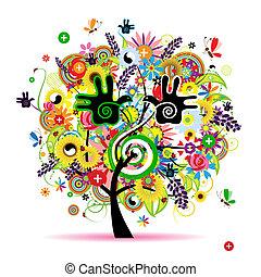 sunde, energi, træ, konstruktion, herbal, din