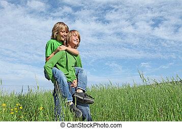 sunde, glade, børn, spille, udendørs