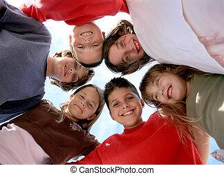 sunde, glade, børn, ydre, hængende