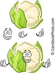 sunde, grønsag, karakter, cartoon, blomkål