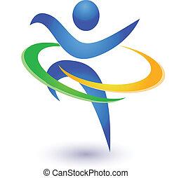 sunde, logo, vektor, glade