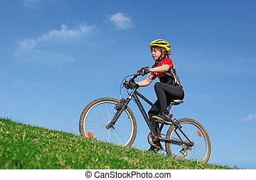 sunde, ride bike, anfald, barn