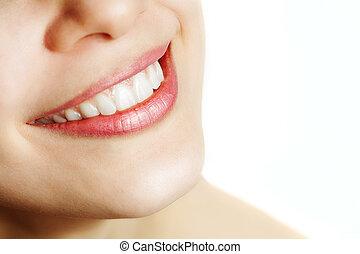 sunde, smile, kvinde, frisk, tænder
