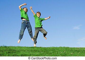 sunde, sommer, springe, børn, glade