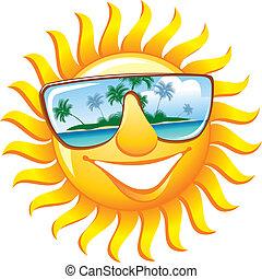 sunglasses, muntre, sol