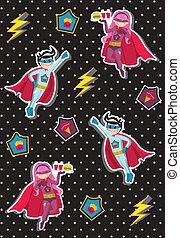 superhero, mønster, cartoons, børn