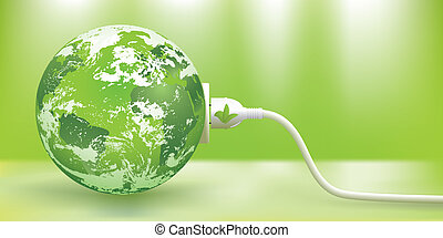 sustainable, vektor, energi, grønne, begreb