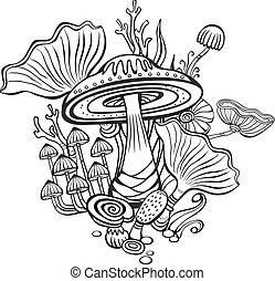svampe, coloring bog, side, voksen