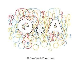 svar, begreb, spørgsmål, illustration, skabelon