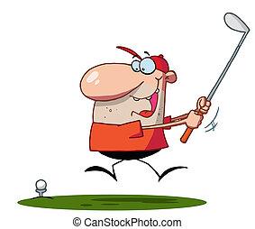svinge, klub, mand, heldige, golf