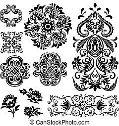 swirl, blomstret konstruktion, fantasi, mønster