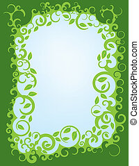 swirl, grænse, løvrige, grønne
