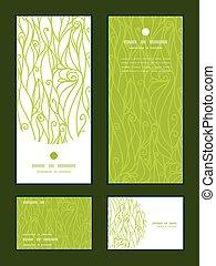 swirls, sæt, tak, vertikal, mønster, hils, tekstur, vektor, ramme, invitation, cards, du, abstrakt, rsvp.