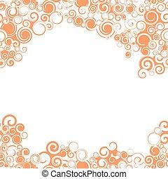 swirly, appelsin grænse, seamless