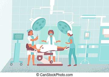 sygeplejerske, komposition, operere rum