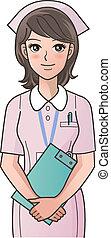 sygeplejerske, smi, cute, clipboard, unge